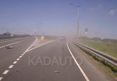 Взорвалось колесо на Окружной в Калининграде. 17.05.21